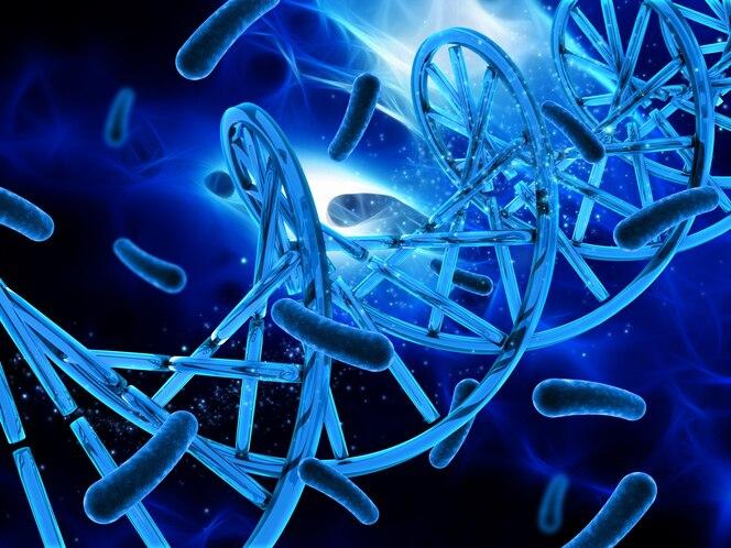 Antecedentes médicos 3d con cadena de adn y células de virus
