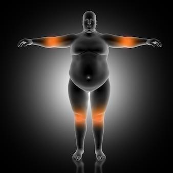Antecedentes médicos en 3d del hombre con sobrepeso con codo y rodillas destacadas