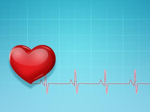 Antecedentes médicos con corazón rojo y pulso