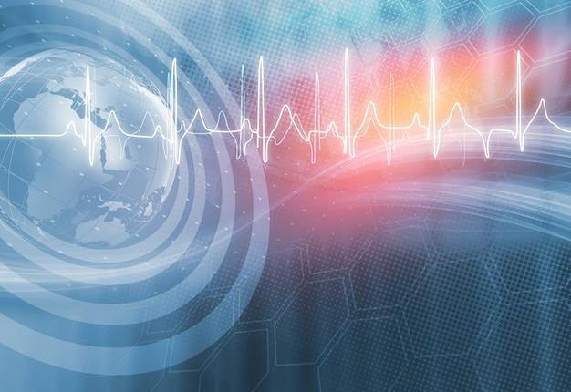 Antecedentes médicos con gráfico de latidos del corazón