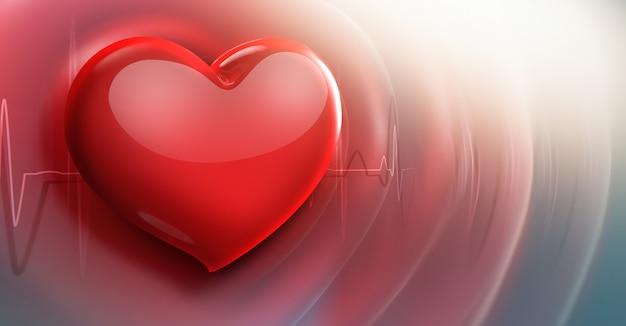 Antecedentes médicos del latido del corazón con línea de pulso y un corazón rojo