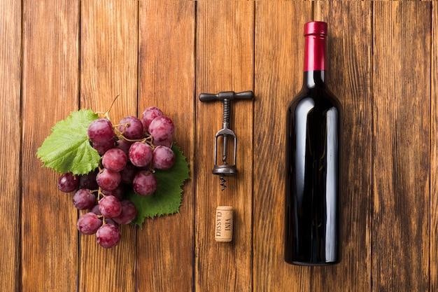Antes y después de los componentes del vino tinto.