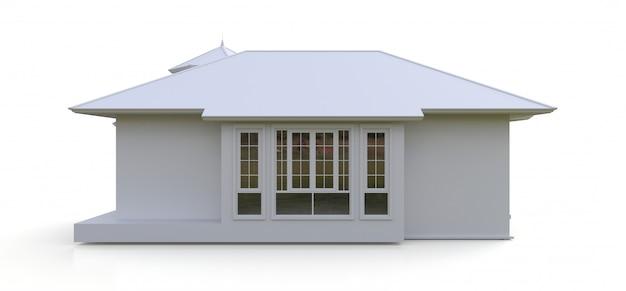 Antigua casa de estilo victoriano. ilustración en el espacio en blanco. especies de diferentes lados. representación 3d