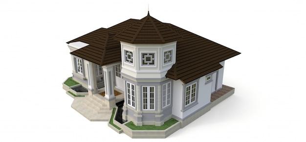 Antigua casa de estilo victoriano. ilustración sobre fondo blanco. especies de diferentes lados. representación 3d