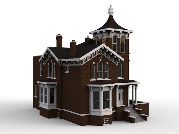 Antigua casa de estilo victoriano. ilustración sobre fondo blanco. especies de diferentes lados