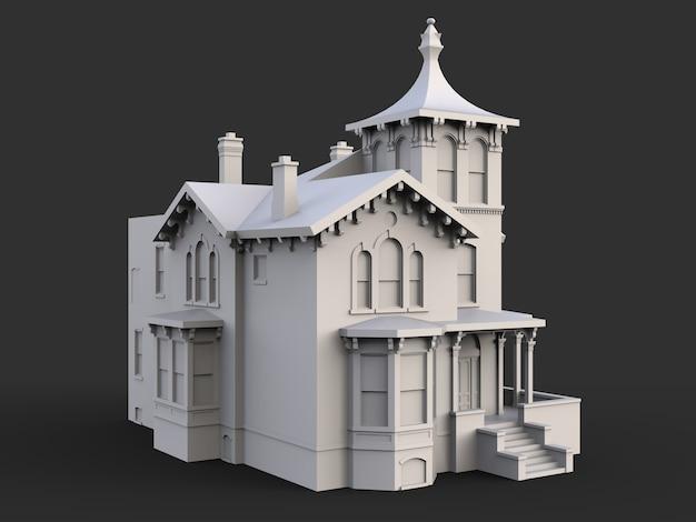 Antigua casa de estilo victoriano. ilustración sobre superficie negra. especies de diferentes lados