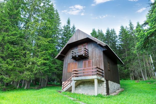 Antigua casa de madera en el bosque