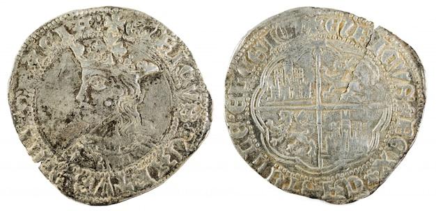 Antigua moneda medieval de plata del rey enrique iv. real. acuñado en toledo. españa.