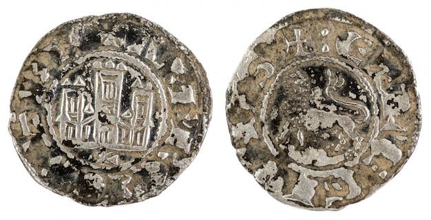 Antigua moneda de vellón medieval del rey alfonso x. pepion. españa.