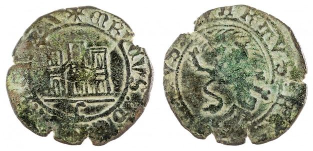 Antigua moneda de vellón medieval del rey enrique iv. maravedi españa.