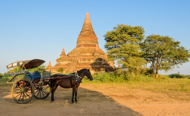 Antigua pagoda y carro de caballos en bagan, myanmar
