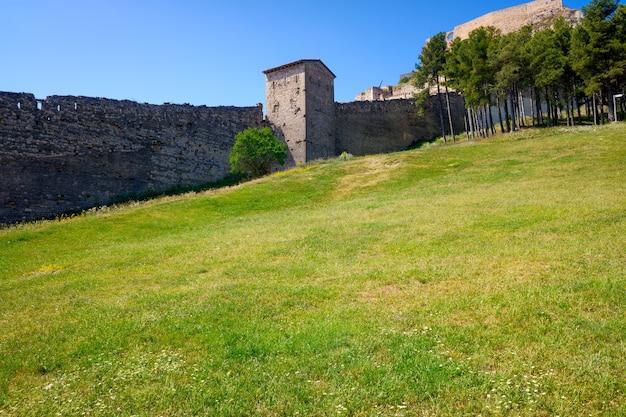 Antiguas murallas de una ciudad fortificada con un prado de hierba verde.