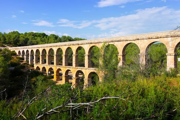 Antiguo acueducto romano en el bosque de verano. tarragona,