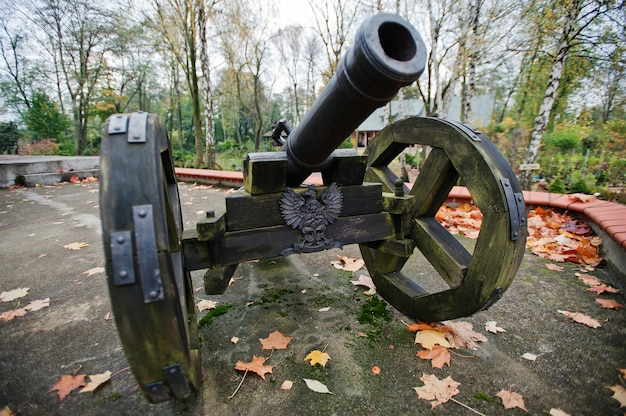 Antiguo cañón de hierro fundido con ruedas