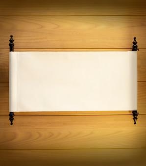 Antiguo cartel en blanco en el fondo de pared de madera