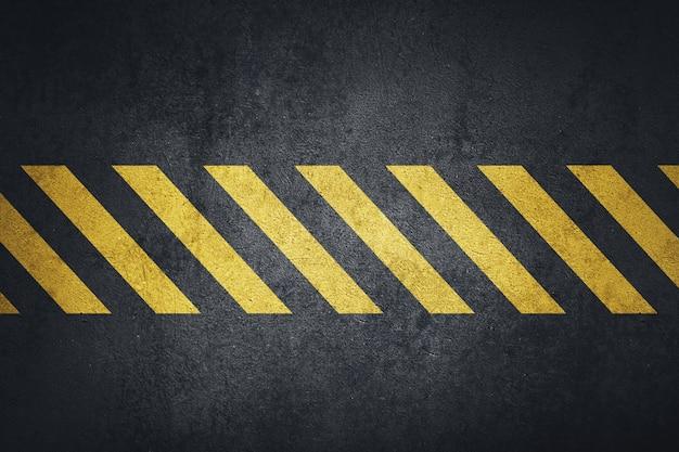 Antiguo fondo de metal negro sucio con rayas amarillas de advertencia