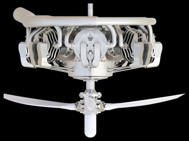 Antiguo motor de combustión interna de aviones circulares con hélice y palas. representación 3d.