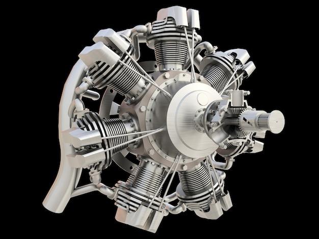 Antiguo motor de combustión interna de aviones circulares. representación 3d.
