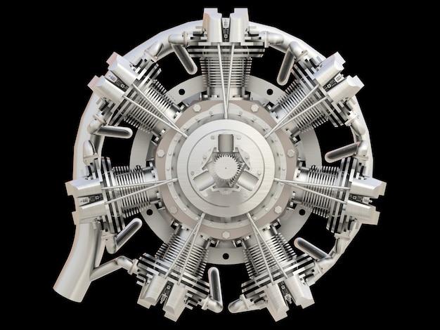 Antiguo motor de combustión interna de aviones circulares