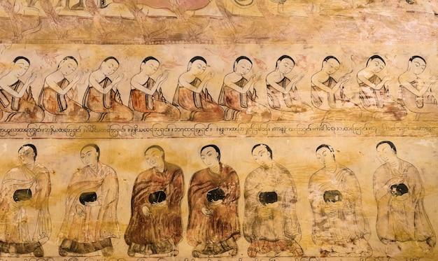 Antiguo mural birmano en el templo bagan, myanmar