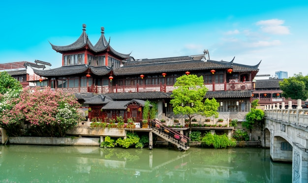 Antiguo paisaje arquitectónico del río qinhuai en nanjing