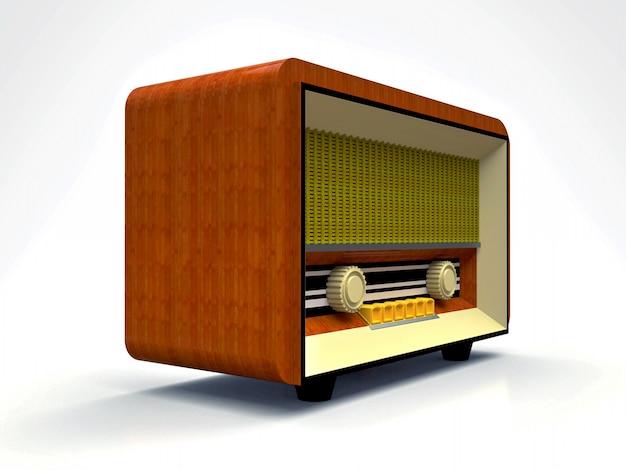 Antiguo receptor de radio tubo vintage de madera y plástico crema sobre una superficie blanca. radio antigua de mediados del siglo xx