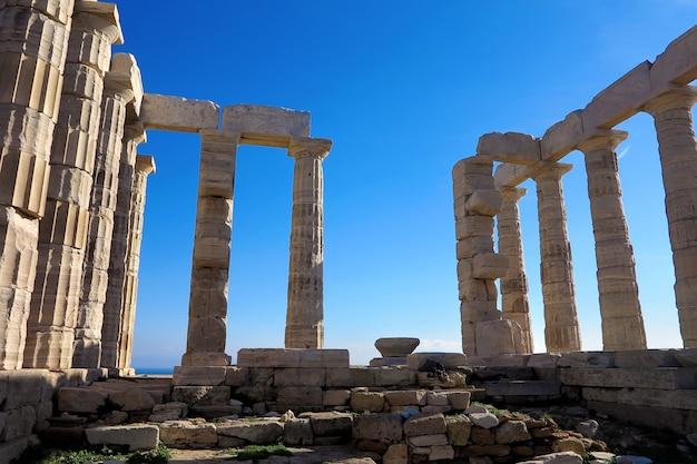 Antiguo templo de poseidón en capo sunio en attica grecia