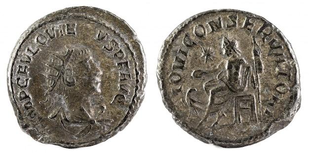 Antoninianus antigua moneda romana del emperador quietus.