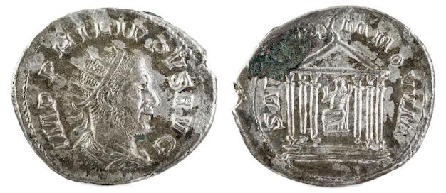 Antoninianus antigua moneda romana de plata de felipe i.