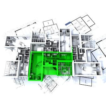 Apartamento resaltado en verde sobre una maqueta de arquitectura blanca sobre los planos del arquitecto