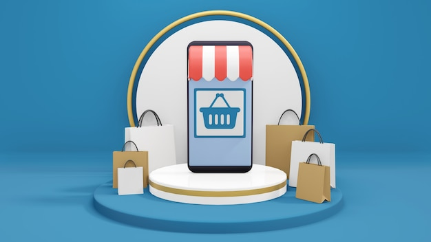 Aplicación de compras en línea en teléfonos inteligentes, concepto de compras en línea, tienda en línea rodeada de bolsas de compras en el podio, render 3d, ilustración 3d