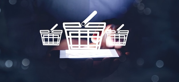 Aplicación de icono de negocio de compras en línea