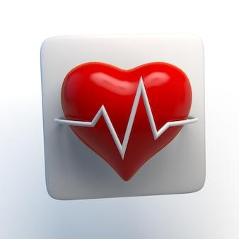 Aplicación de ilustración 3d de icono de frecuencia cardíaca