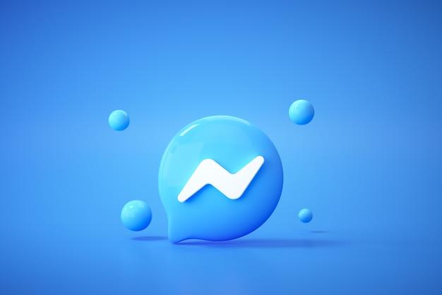 Aplicación de logotipo 3d facebook y messenger sobre fondo azul, comunicación en redes sociales.