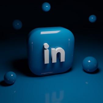 Aplicación de logotipo de linkedin 3d
