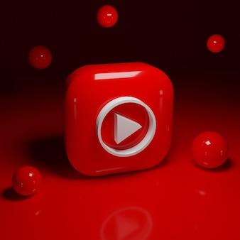 Aplicación de logotipo de música de youtube 3d
