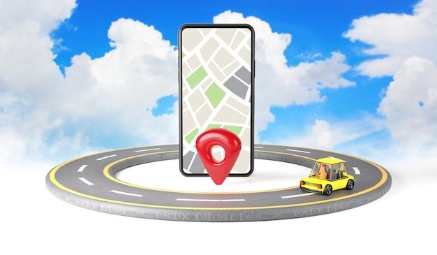 Aplicación de mapas en el teléfono inteligente y el automóvil en la carretera.