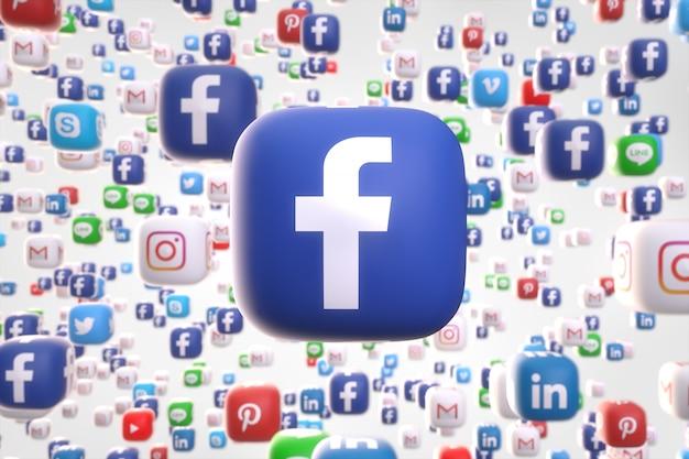 Aplicación de redes sociales al azar iconos 3d al azar