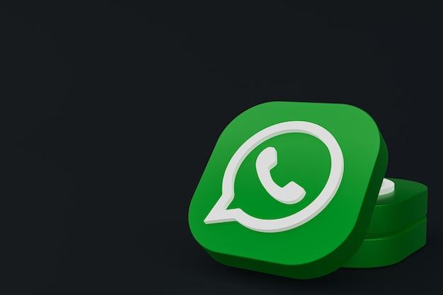 Aplicación de whatsapp logo verde icono 3d render sobre fondo negro