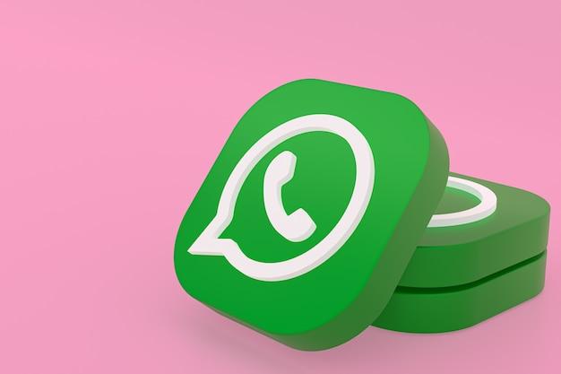 Aplicación de whatsapp logo verde icono 3d render sobre fondo rosa