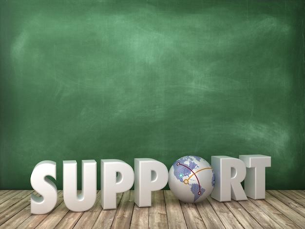 Apoye word 3d con globe world en pizarra