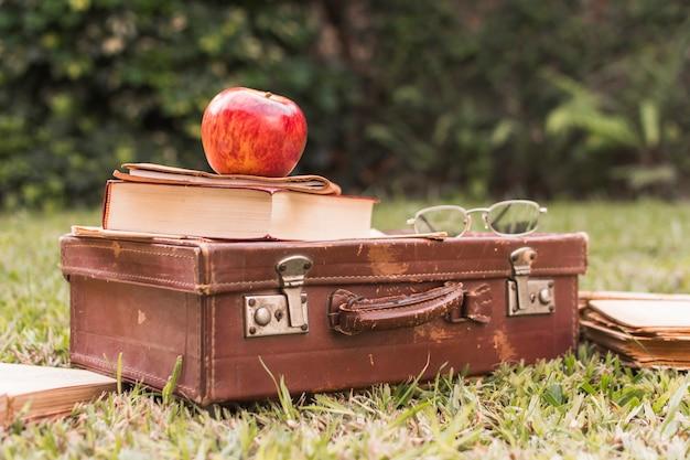 Apple y libro sobre maleta cerca de gafas