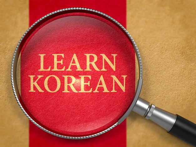 Aprende coreano a través de la lupa en papel viejo