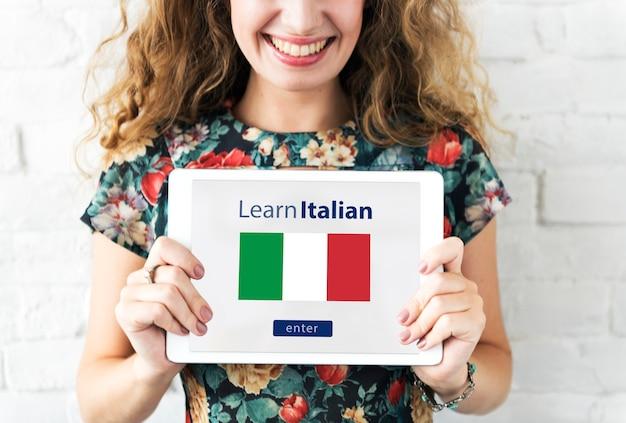 Aprender el concepto de educación en línea de lengua italiana
