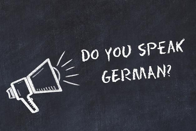 Aprender el concepto de lenguas extranjeras. símbolo de tiza de altavoz con frase hablas alemán