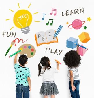 Aprender diversión jugar educación icono