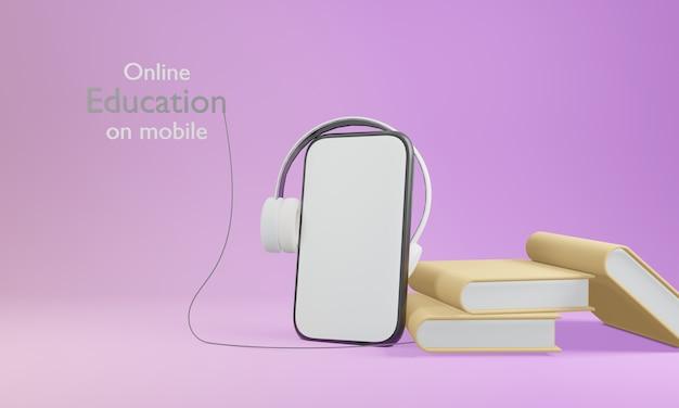 Aprendizaje de aplicaciones de educación digital en línea en el teléfono, móvil, copia el fondo del espacio. distancia social. representación 3d
