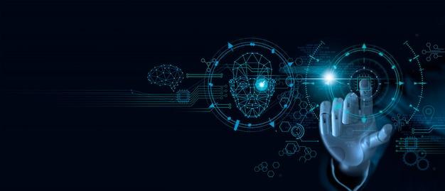 Aprendizaje automático. mano del robot tocando el chip de computadora y datos binarios.