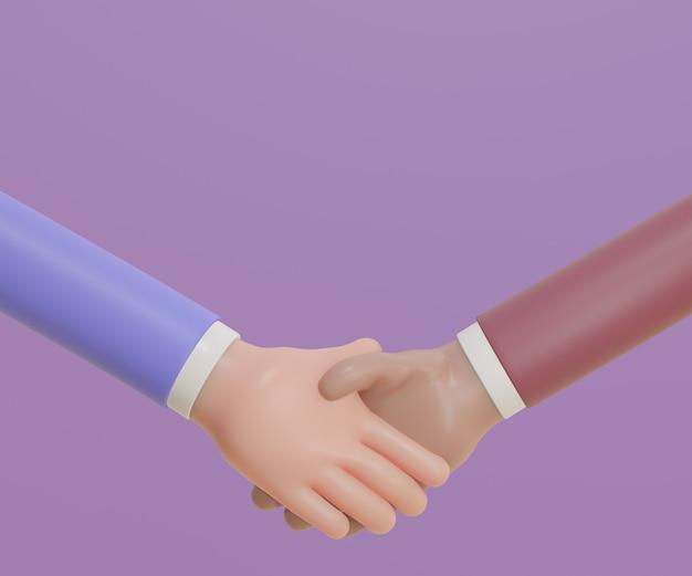 Apretón de manos 3d de trato comercial. representación 3d de la ilustración.