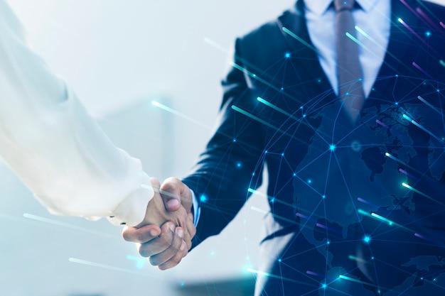 Apretón de manos de negocios corporativos entre socios